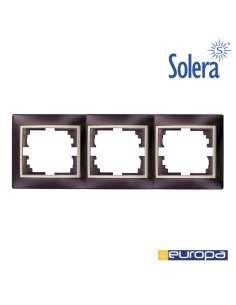 Marco para 3 elementos horizontal negro y perla 225x81x10mm s.europa solera