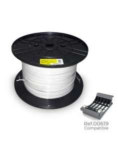 Carrete manguera 2x1mm plana blanca 500m (audio) (bobina grande ø400x200mm)