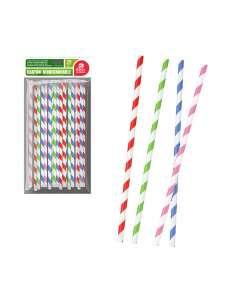 Bolsa 25ud pajita franja colores surtidos cartón best products green